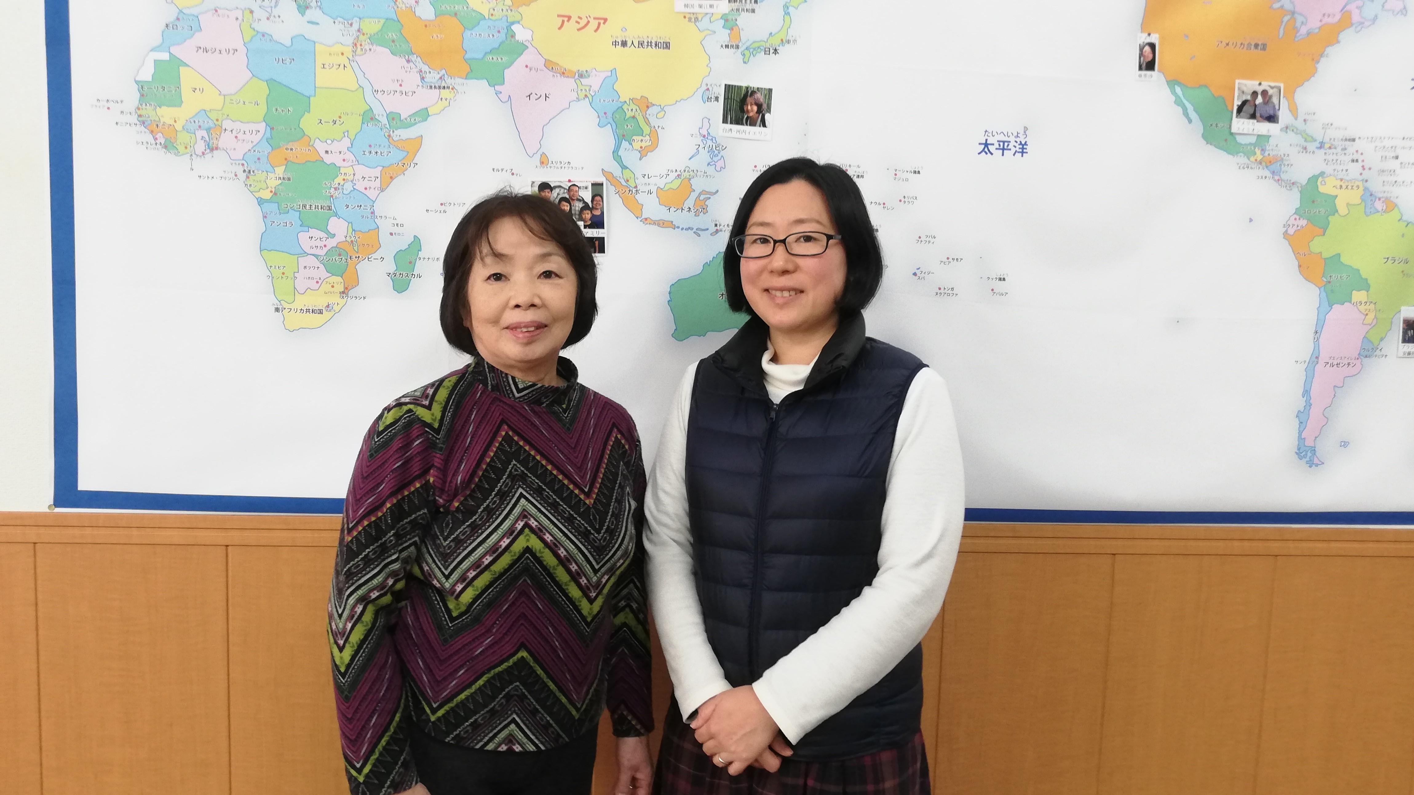話しをして頂いた理事長の多田美鈴先生(左)と多田洋美先生(右)。この辺りは多田姓が多いそうです。